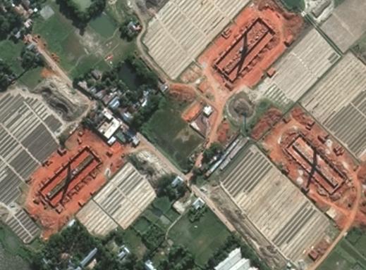 Madhabdi, Bangladesh kiln smokestacks