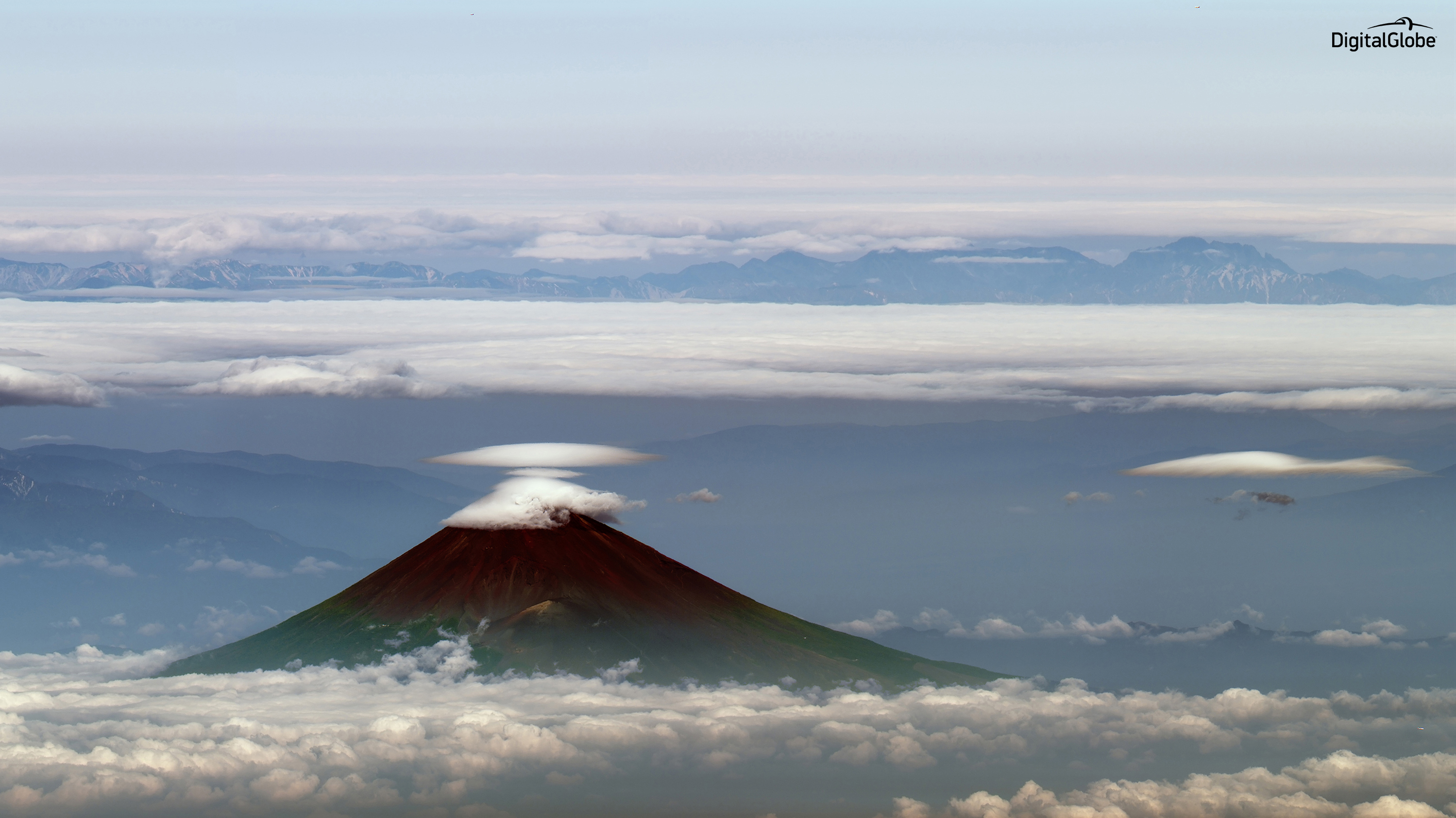 Mt. Fuji, Japan - captured with the satellite just 3 degrees above the horizon