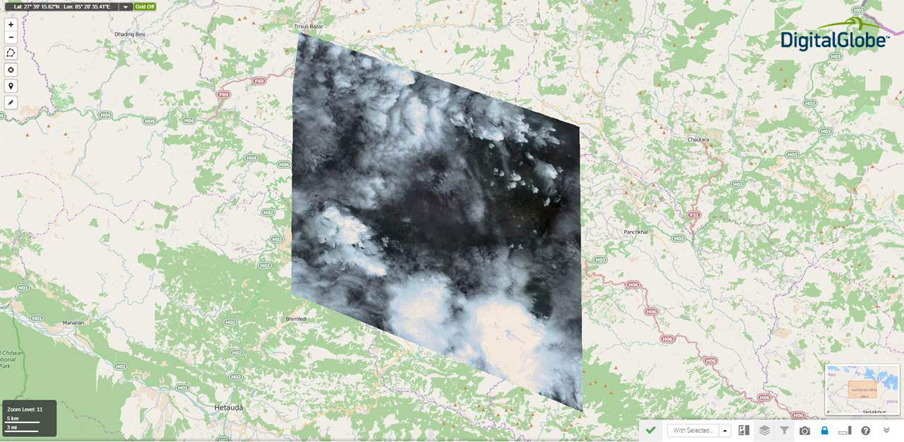 The morning after the Nepal earthquake struck, GeoEye-1 captured useful imagery of Kathmandu by pointing 50 degrees off-nadir to shoot through a break in the heavy cloud cover.
