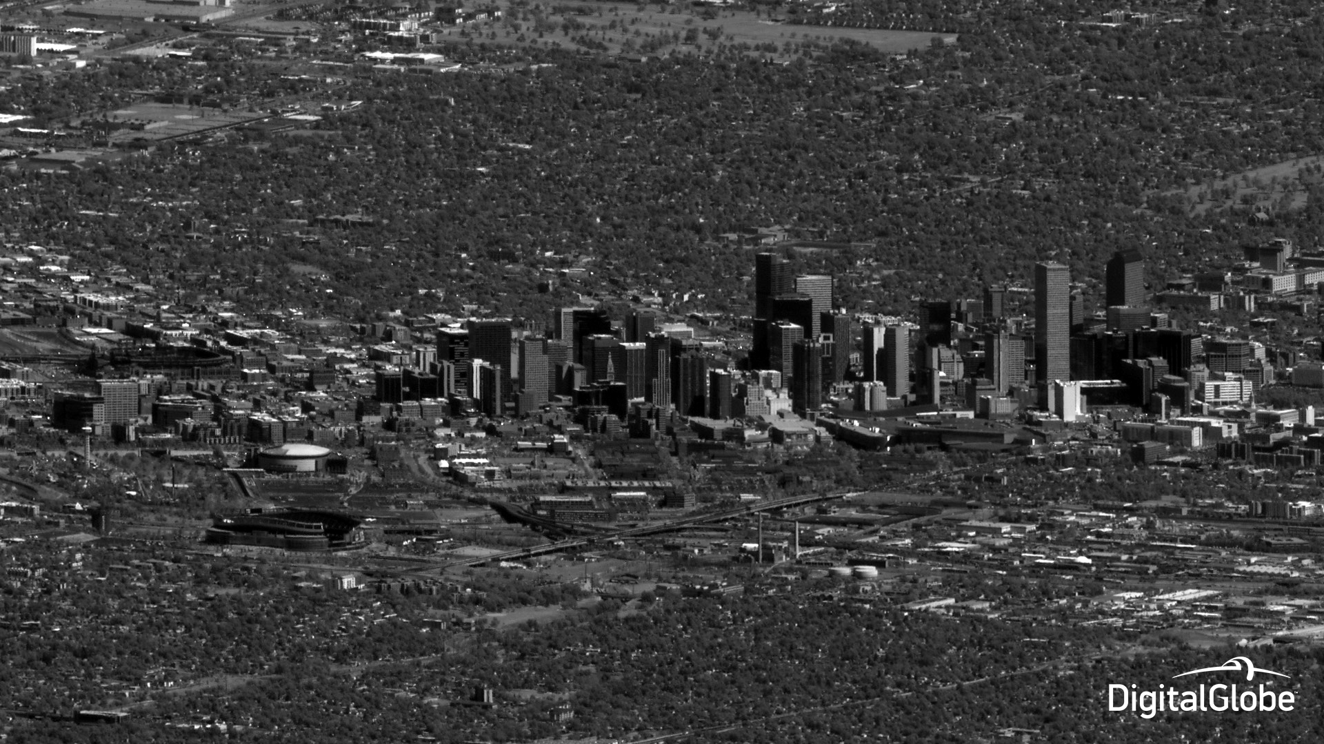 1-meter resolution shot of Denver, Colorado, taken from when WorldView-3 was 340 miles southwest of Los Angeles, nearly 1,400 miles from Denver