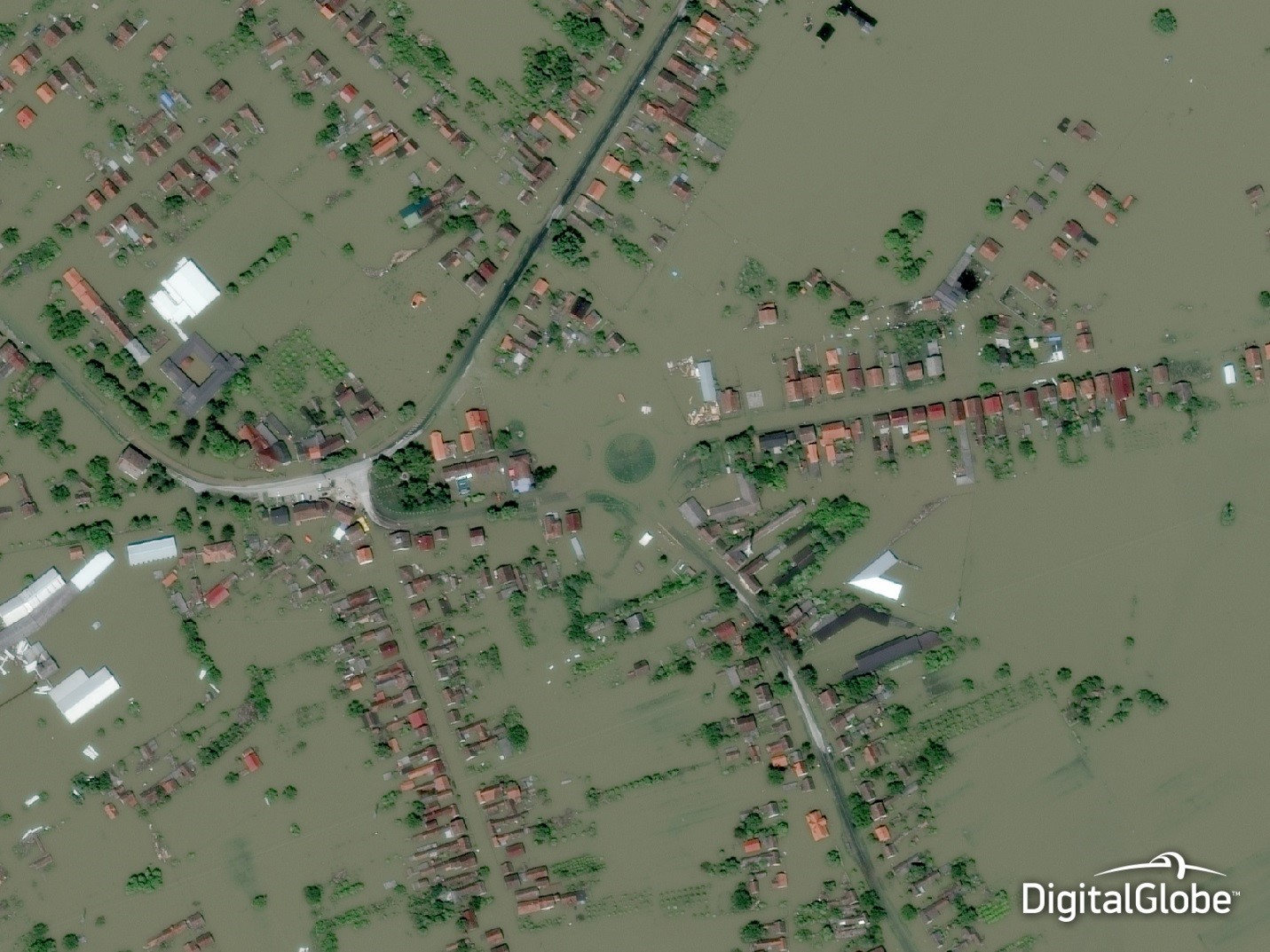 Geospatial technologies and high resolution satellite imagery can help better prepare, respond and adapt to climate change. This image from Gunja, Croatia was taken on May 21, 2014 after three days of torrential rain that amounted to what is normally three months of rainfall.