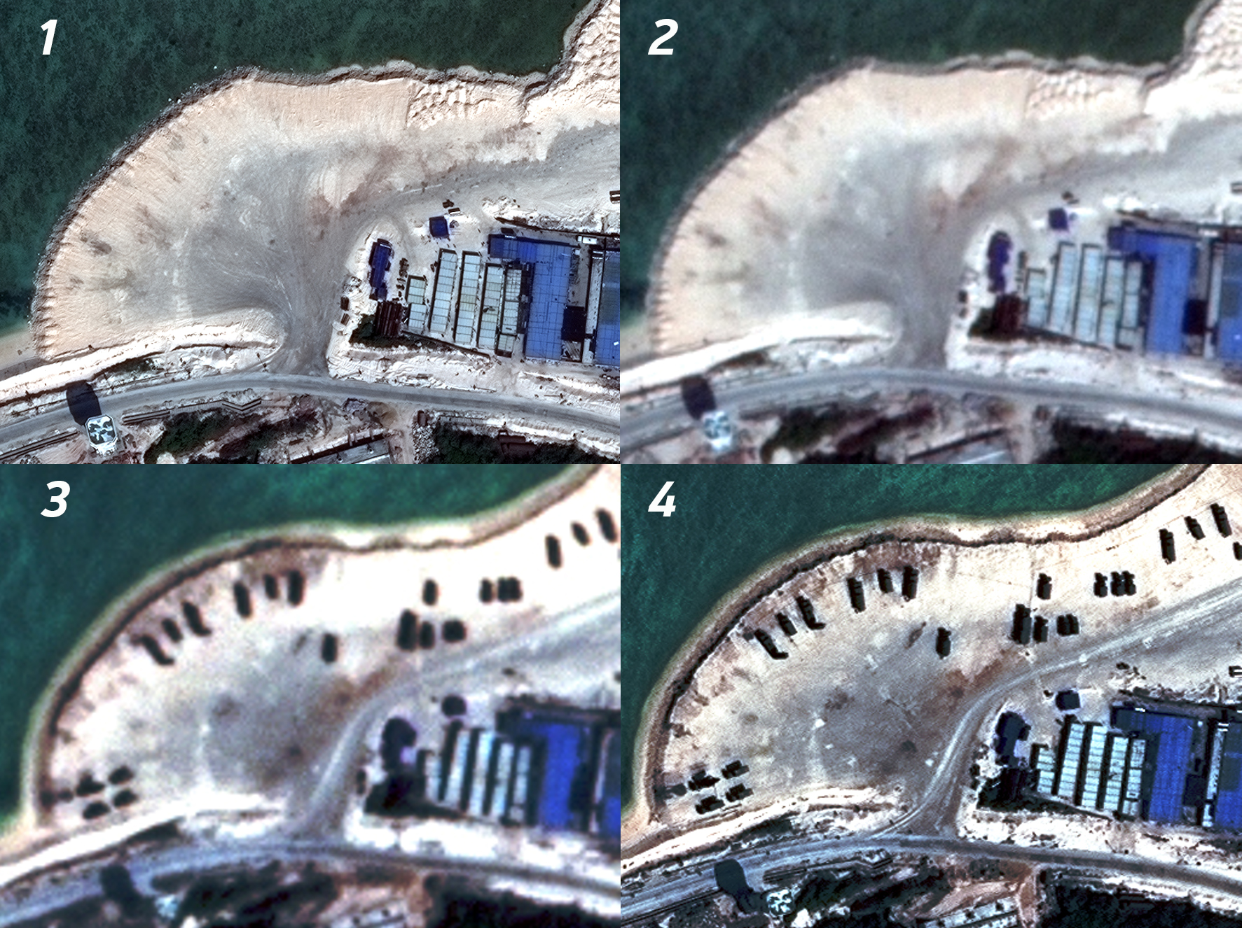 , WorldView-3 images the coastline of this small island, showing an empty beach (figure 1, 30 cm GSD); then, a small satellite flying directly over the island captures an image, showing no change (figure 2, 80 cm GSD); hours later, another small satellite takes an off-nadir image of the area, detecting a new presence on the beach. (figure 3, 1.3 m GSD); this cues WorldView-2 to take a closer look, showing military vehicles and equipment that an analyst could identify. (figure 4, 50 cm GSD).