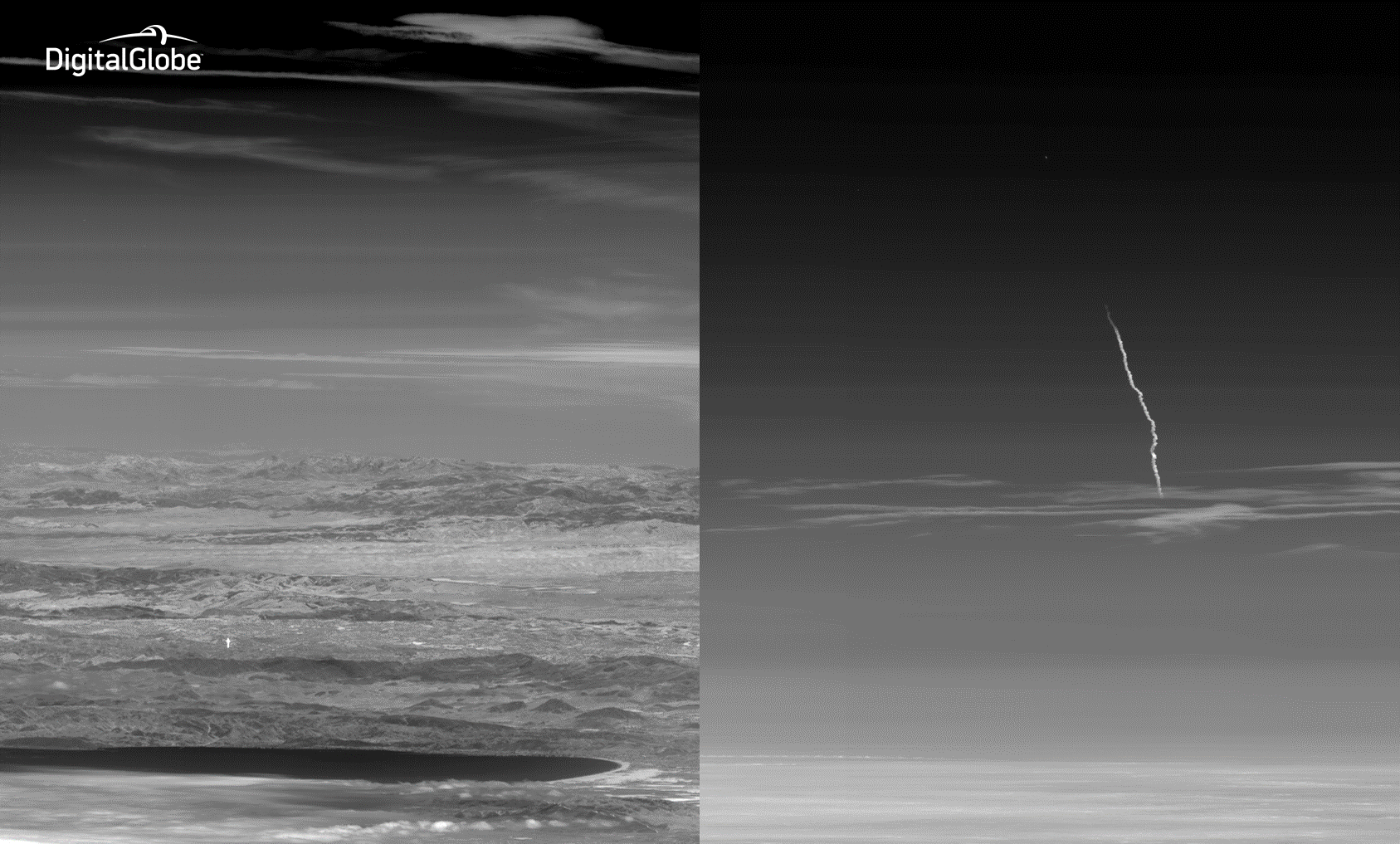 Left image: WorldView-3 launch showing the rocket rising above the horizon captured by WorldView-2. WorldView-2 was flying over 1,600 miles south of the launch looking back toward the horizon. Right image: Contrail from the WorldView-3 launch rocket.