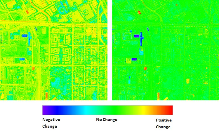 When a change detection algorithm is run against the original, uncorrected images, it produces the output shown below on the left. This result incorrectly implies that there have been many changes, as indicated by the heat map. After AComp is applied, however, the result on the right provides a much more accurate assessment of where structures have been built up or torn down — dramatically reducing the amount of manual interpretation required to produce a decision-ready result.