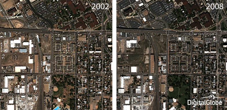 AComp can also drastically improve the accuracy of the image mining and deep learning algorithms that are used in our Geospatial Big Data platform (GBDX). While an imagery analyst could study these two images for hours to pinpoint all of the instances of change, a well-trained algorithm can extract this information almost instantly.
