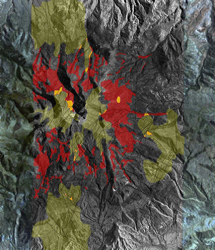 The 3-D Bare Rock Model© classifies satellite data to differentiate rock and formation types. Specialized classification techniques accurately identify and predict minerals and alteration zones. This mineral classification map shows areas containing high concentrations of copper (red) and feldspar (green). Locations of spatial correlation of copper and feldspar are identified (yellow) prospective targets. Image produced by Auracle Remote Sensing.