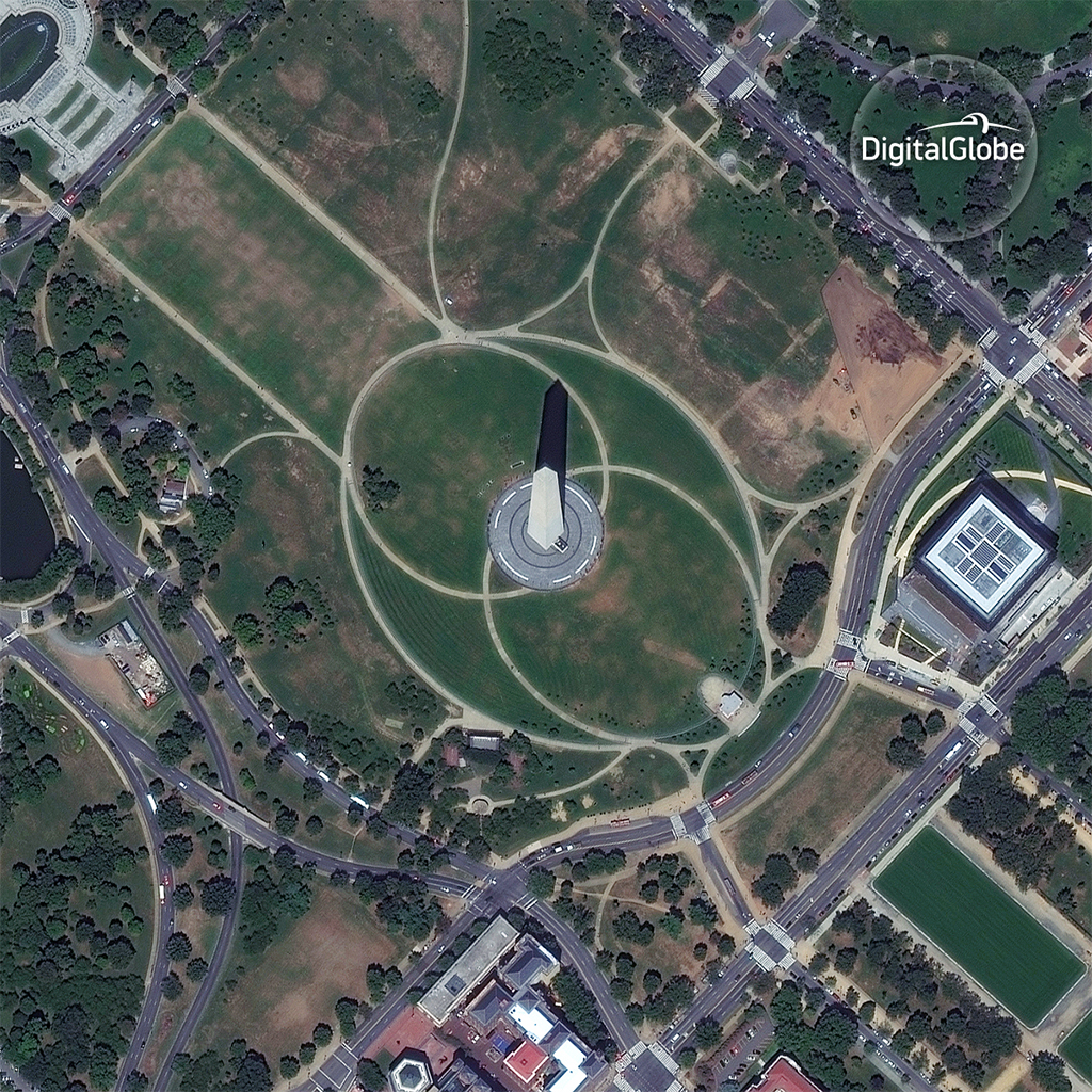 Washington Monument, captured by WorldView-2 on August 15, 2016