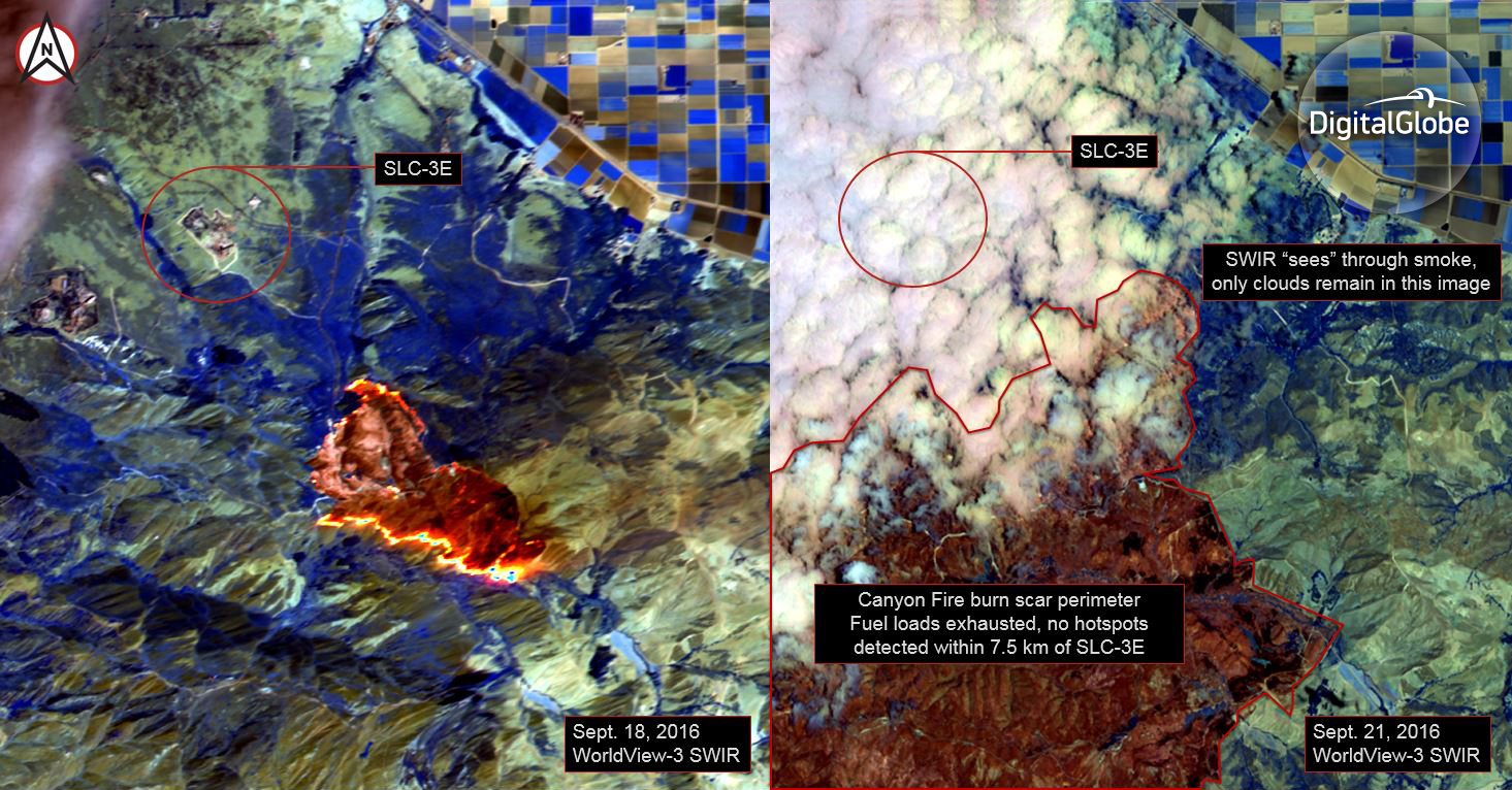 These false-color images were taken with the satellite's shortwave infrared sensor, which is uniquely able to pierce through smoke and see where fires are burning on the ground. Four days ago, the fire line (shown in bright orange) was as close as 2.5 km from the Space Launch Complex (SLC)-3E. By yesterday, there were no active fires in this area (those are clouds obscuring the launch pad in yesterday's image).
