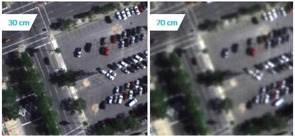 30 cm resolution imagery compared to 70 cm