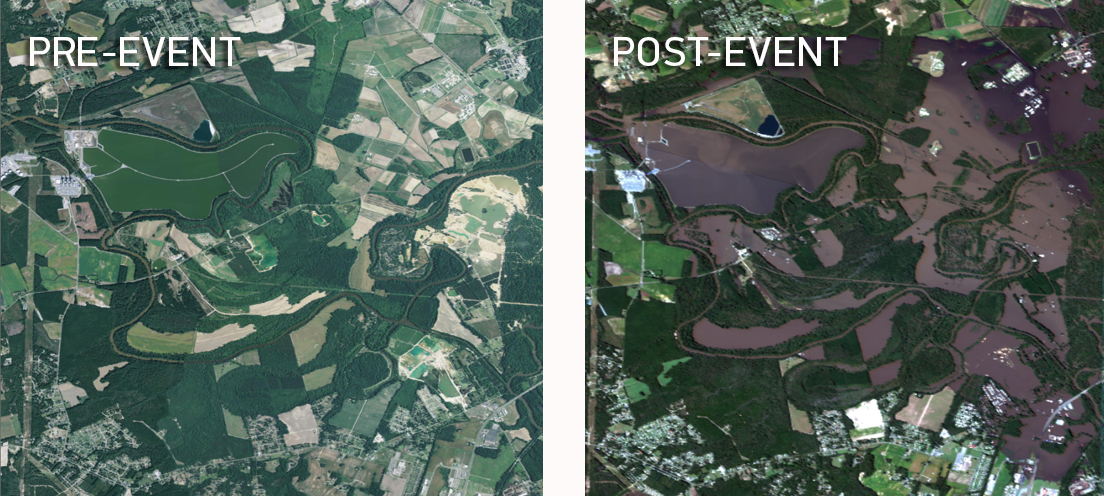 Pre- and post-event imagery