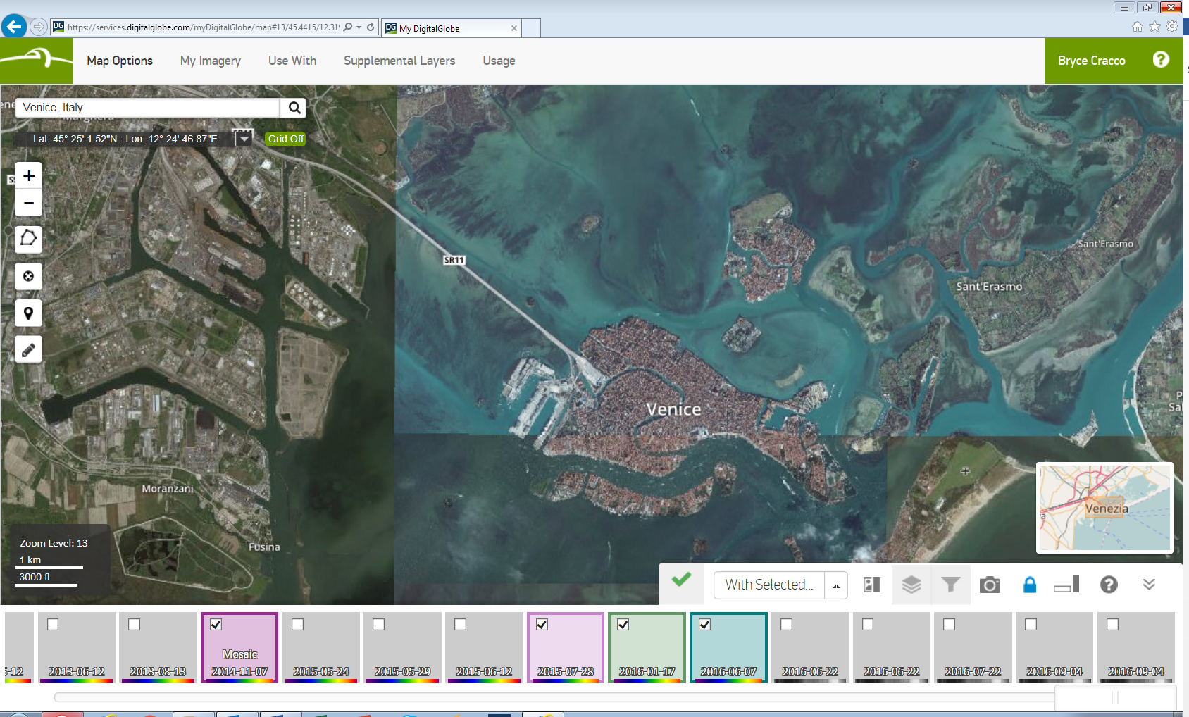 Browsing time lapse imagery of Venice in DigitalGlobe Basemap