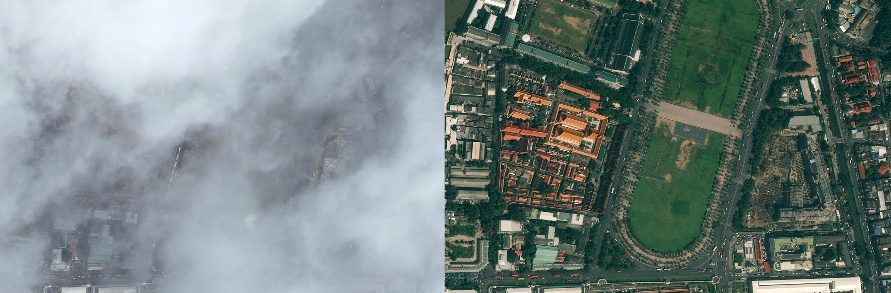 Two images of the same area of Bangkok. The image on the left is hard to identify based on cloud cover, while the image on the right is clear of cloud cover or weather.