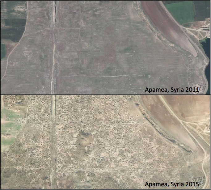 Thousands of looting pits appeared in Apamea, Syria over a relatively short period of time. When comparing imagery from 2011 and 2015 you can see the difference.