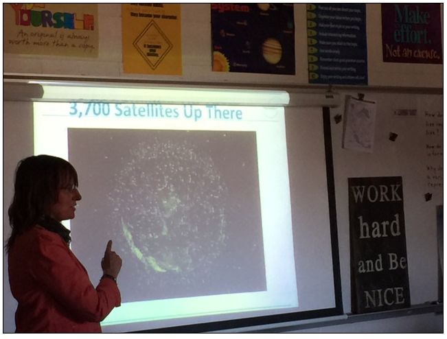 DigitalGlobe's Sue Uyetake presents to the 6th graders at Westlake Middle School in Westminster, CO.