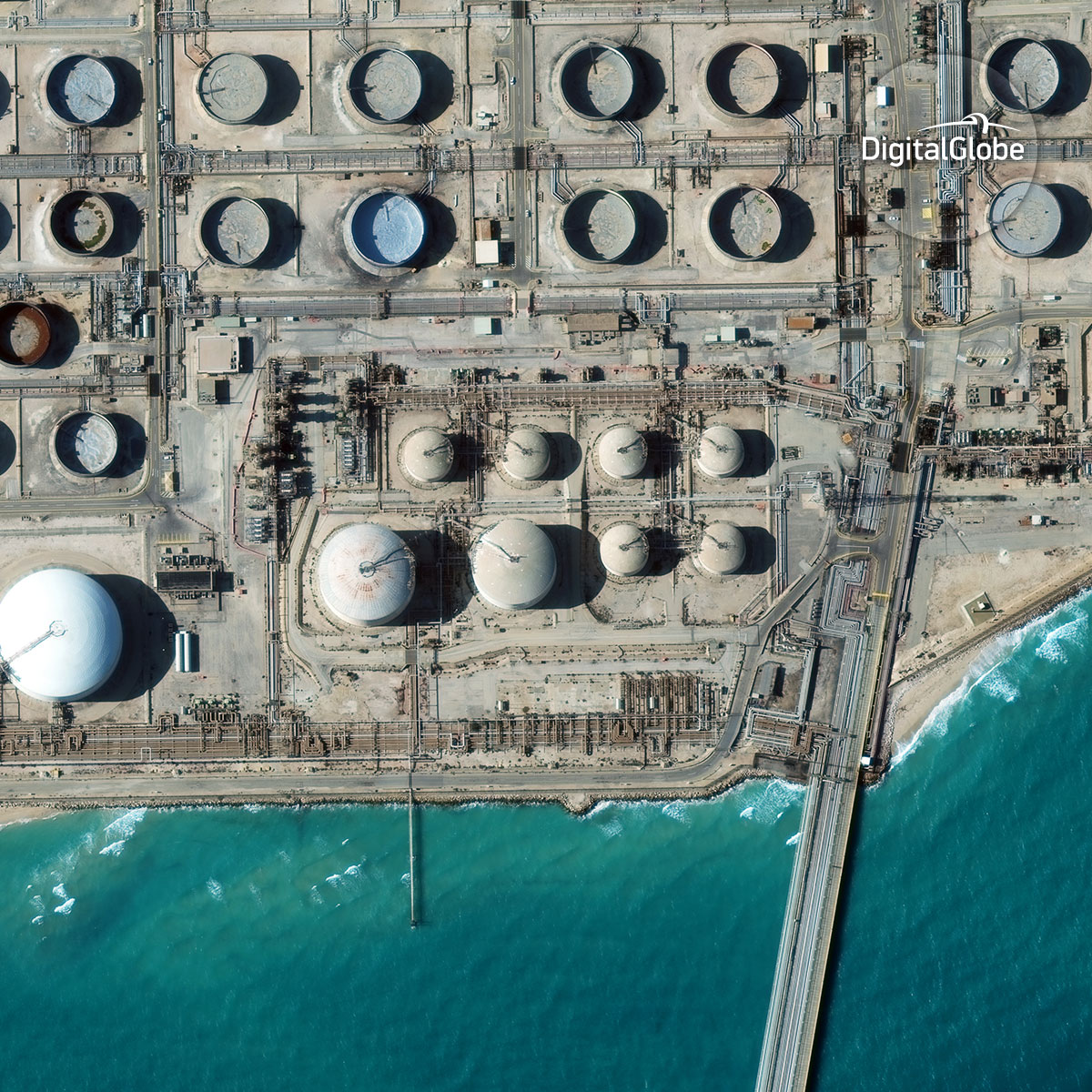 Oil refinery in Ras Tanura, Saudi Arabia captured by WorldView-3.