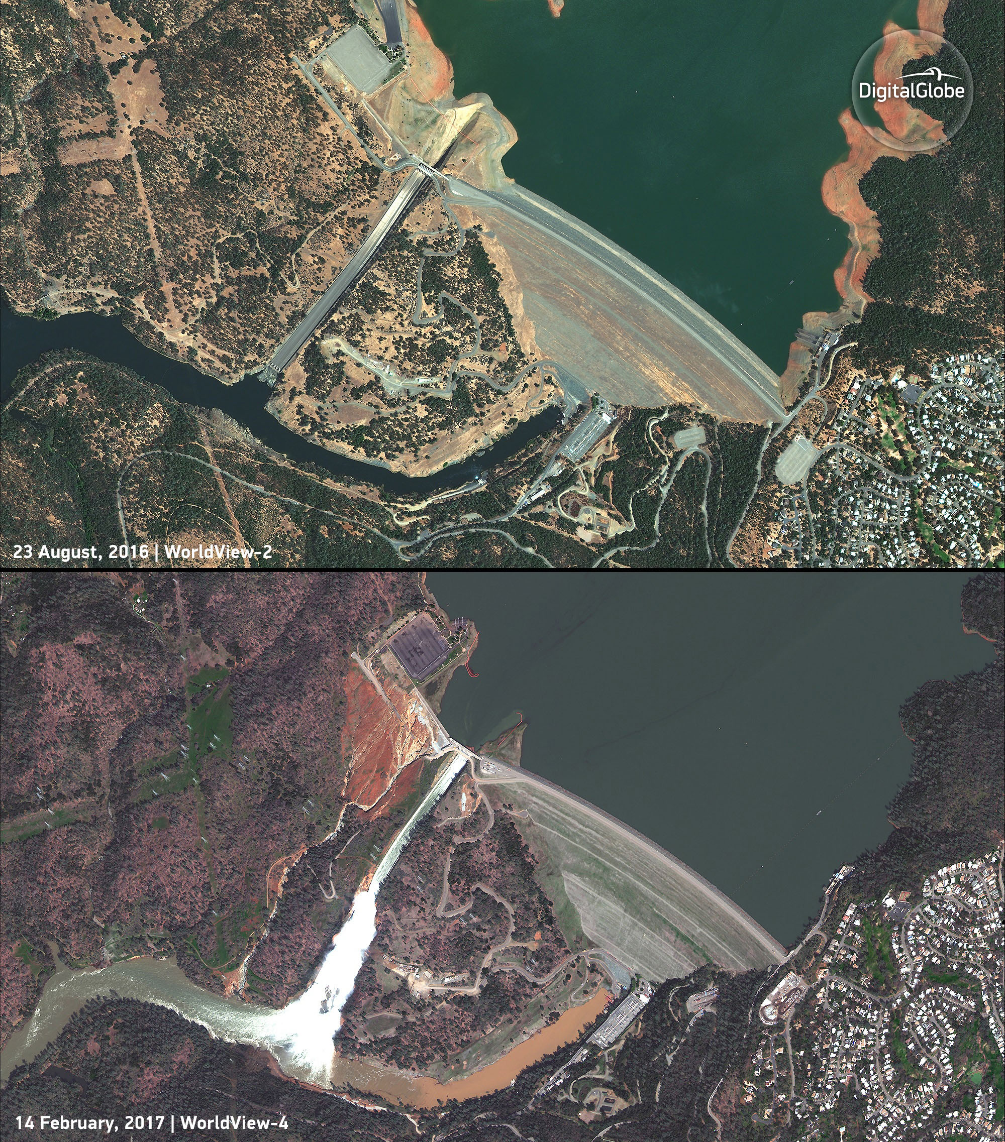 Oroville Dam before and after