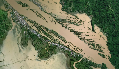Flooding is seen across the Maroantsetra area (DigitalGlobe imagery from March 11, 2017).