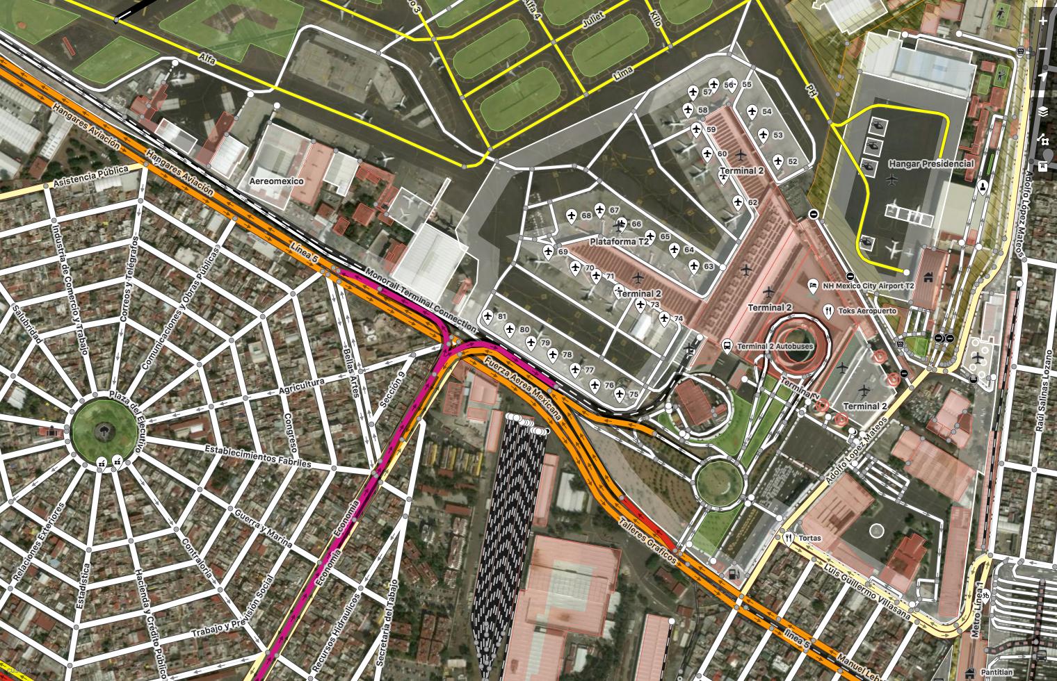 Mexico City, Mexico. Imagery (c) DigitalGlobe. Map (c) OpenStreetMap contributors