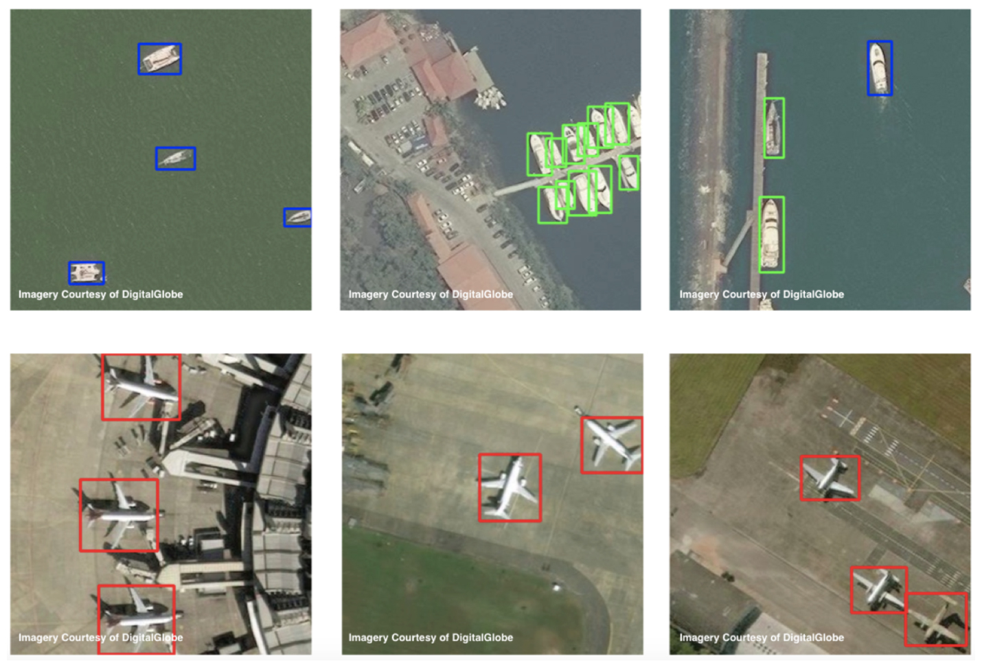 A few examples of satellite imagery training data: docked ships (green), ships underway (blue) and airplanes (red)