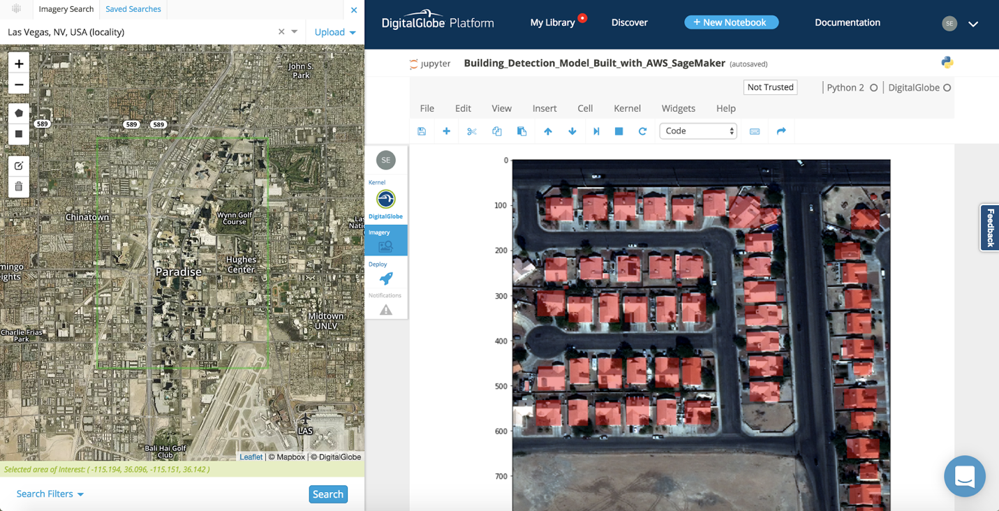 Las Vegas example of applying building detection with Amazon SageMaker