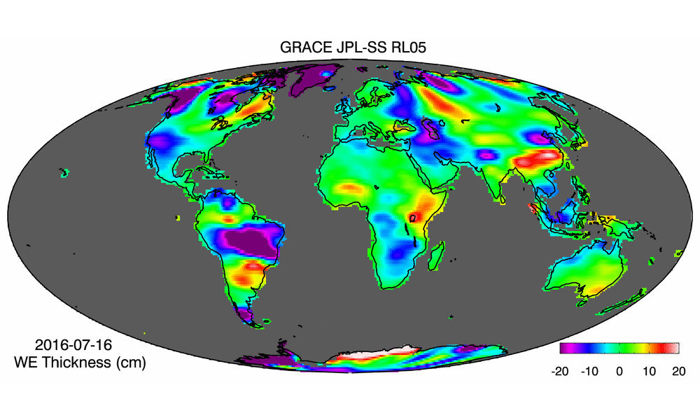 Water storage anomalies in July 2017 observed by GRACE satellites