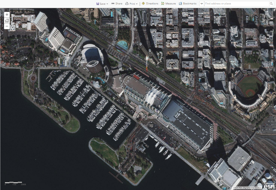 San Diego Convention Center-Maxar satellite imagery mosaic