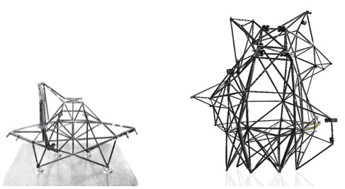 First strut-truss tower (left) and Hispasat 30W-6 tower (right)
